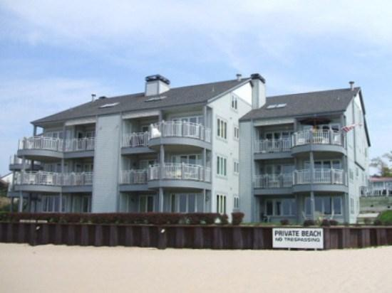 The unit is on the lower right with the walk out patio - Waters Edge 1 - Weekly stays begin on Saturdays - South Haven - rentals