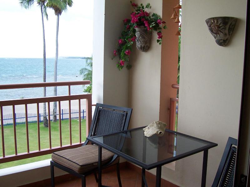 Balcony bistro set with impressive ocean view - Haciendas del Club beachfront 1-br private apartment - Cabo Rojo - rentals