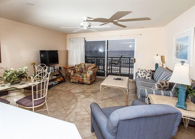 The view of the beach front living room - PI 412:Beautiful gulf front 1BD/2BA Condo, WiFi , Free Beach Service - Fort Walton Beach - rentals