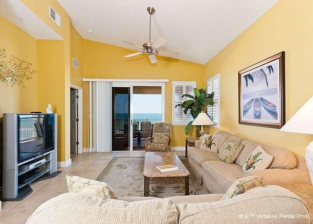 Living room has beautiful views of the ocean - 665 Cinnamon Beach, 6th Floor Ocean Front, Corner Unit, HDTV - Palm Coast - rentals
