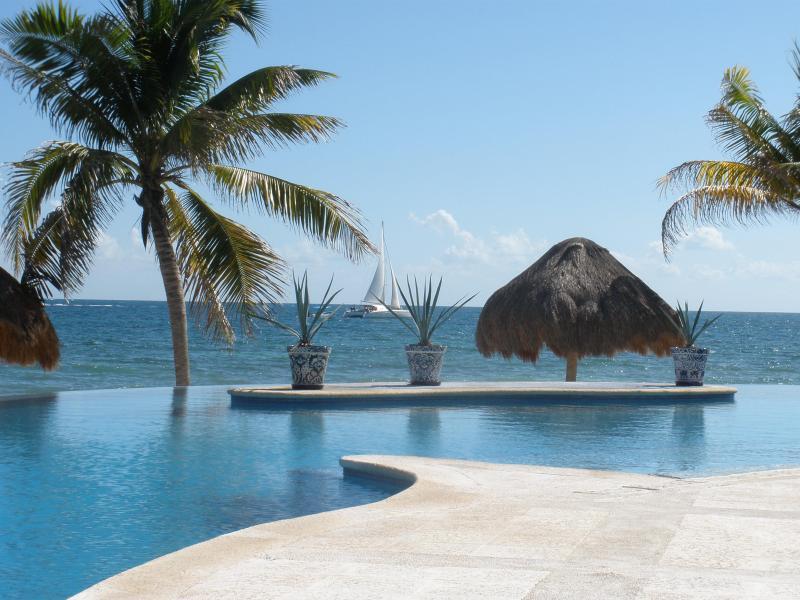 View across infinity edge pool to ocean beyond - Spectacular Oceanfront Villa on the Mayan Riviera - Puerto Morelos - rentals