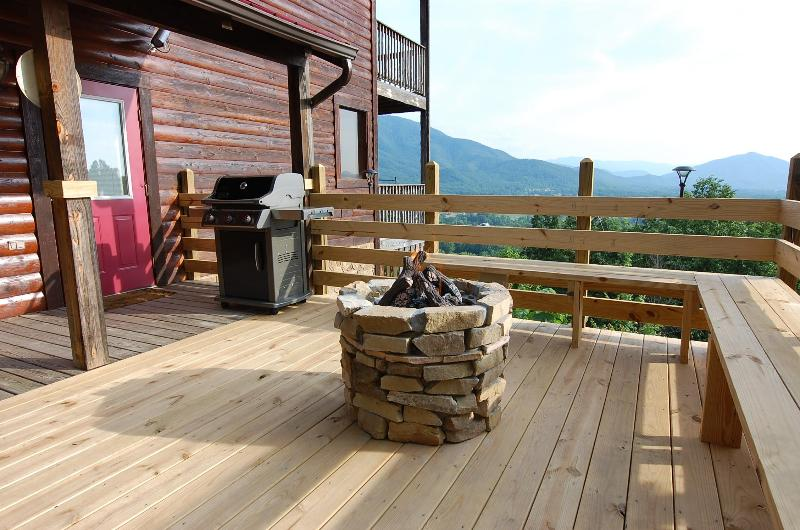 Walk out the door to a Gas Grill, Gas Fire Pit, Bench Seating, Speakers and a 30 Mile Mountain View - Semi Secluded,30 Mile View,Movie Room,Gas Firepit - Pigeon Forge - rentals