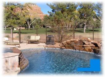 Pool w/ 3 waterfalls (controllable) - Lux Pool/Golf-1st Fairwy-Views Gunsight Rock-Wifi - Sedona - rentals