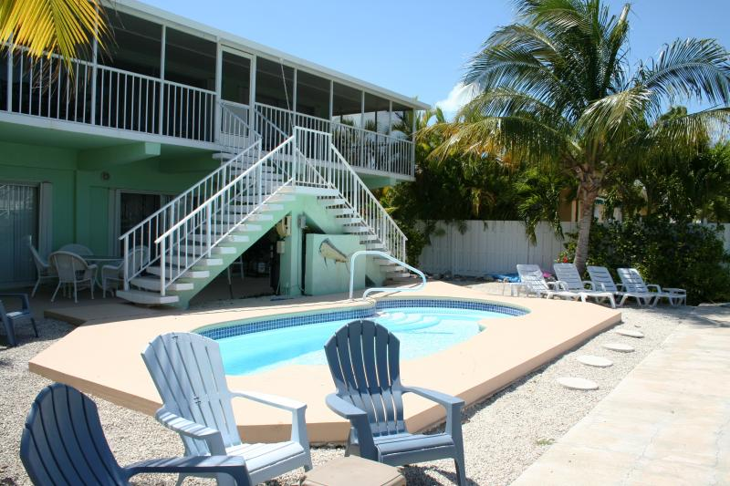 Backyard with heated pool. - Keys Hide Away, 4/3 with a pool,  # 26 - Key Colony Beach - rentals