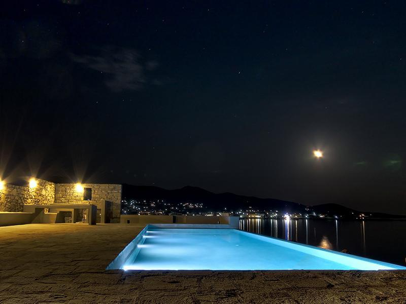 night view - Paros, Luxury Seafront Villa with Infinity Pool - Paros - rentals