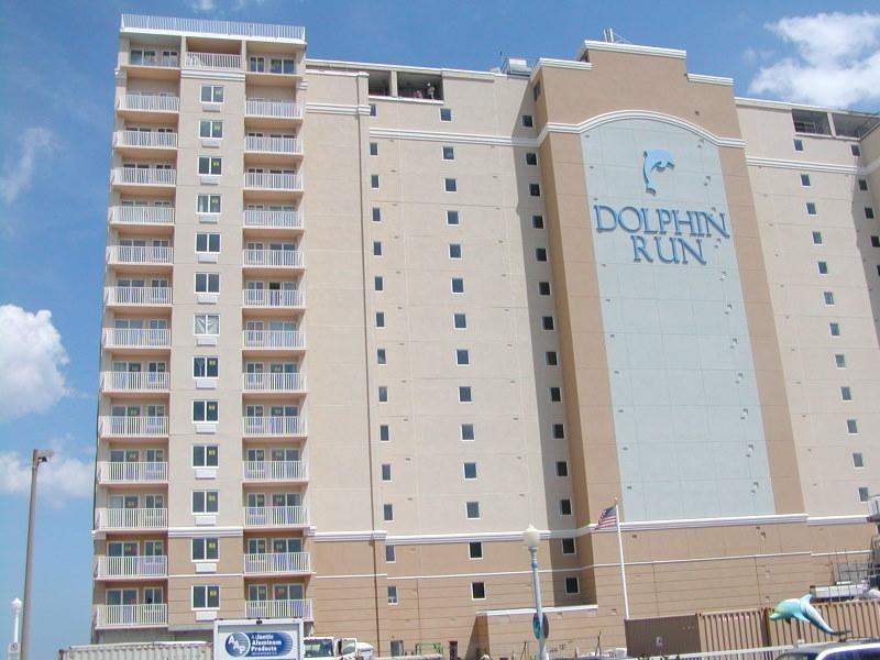 View of Builiding Front/Parking Garage (not shown) would be in the lower right. - Dolphin Run Oceanfronts on the Vibrant Boardwalk - Virginia Beach - rentals