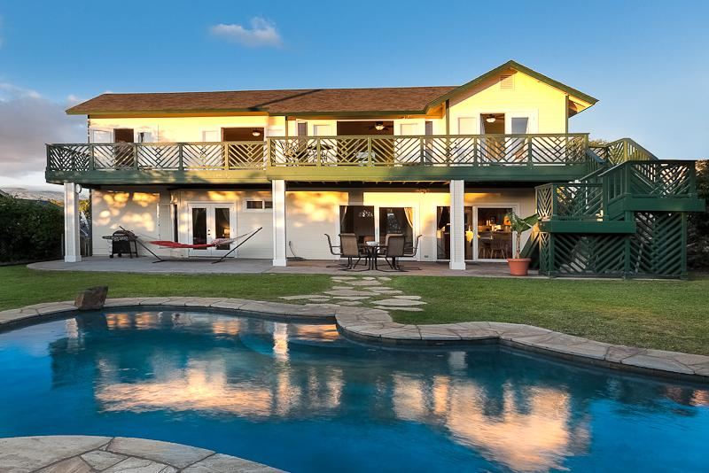 View of the pool & back of the house showing each bedroom with it's own french doors & lanai access - Private Pool, Large View Home, 2 Lanai's, Sleeps10 - Waikoloa - rentals
