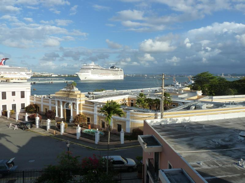 View of San Harbor from large balcony. - Waterfront Condo in Old San Juan, La Puntilla - San Juan - rentals