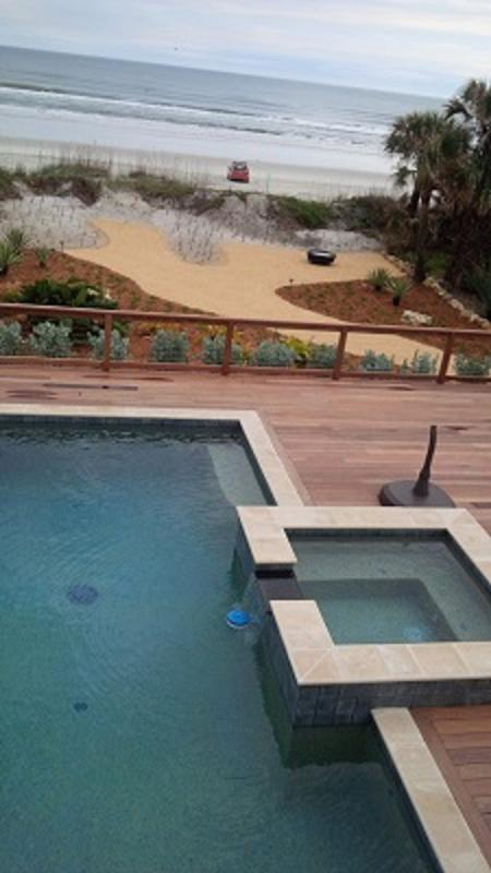 Oceanfront Pool/Spa Firepit - Oceanfront 1930's Cottage steps onto beach - New Smyrna Beach - rentals