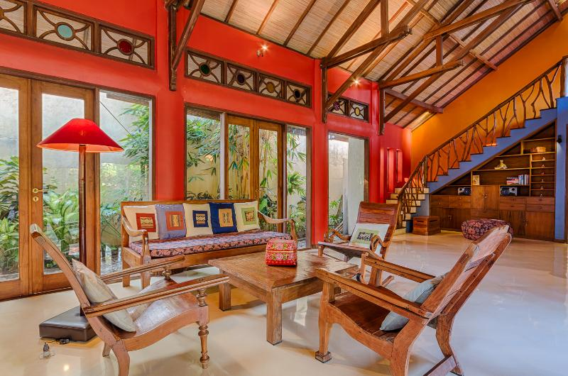 Main living space, including comfortable sitting area, dining table and kitchen with Dutch tiles. - Stunning, Spacious, Colorfully Artistic Bali House - Sanur - rentals