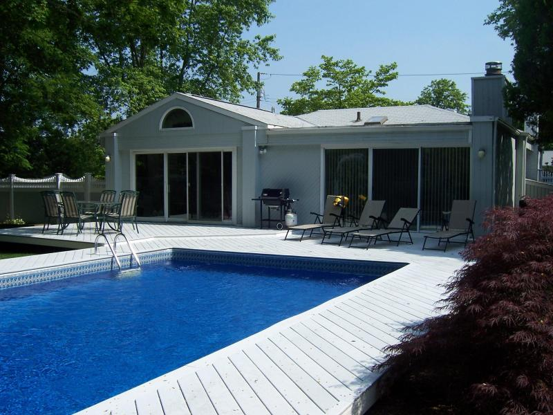 Backyard - 3BR/2BA- Private Heated Pool Steps to Moriches Bay - Remsenburg - rentals