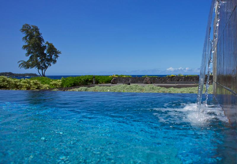 View from 42' long infinity edge, salt water pool - Ocean front retreat in Hawaiian Paradise Park - Keaau - rentals