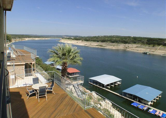 View from Patio - Condo Overlooking Lake Travis with Deep Water, Covered Parking, and Boat Slip - Spicewood - rentals