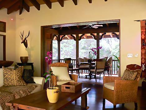 Comfortable living room looking into screened lanai - Romantic Tropical Hawaiian House - South Shore - Koloa - rentals