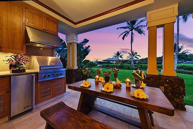 "Kolea 2D- Lanai Kitchen - Mahogany Dining at Sunset - Kolea Villa 2D - ""Ocean Breeze"" - Waikoloa - rentals"