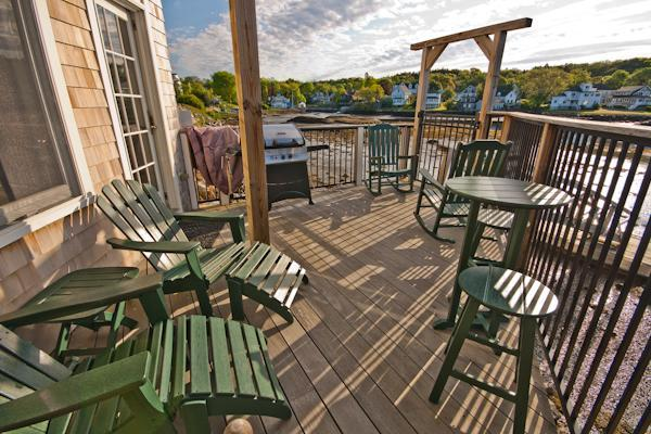 Portside's private deck - Back Bay Cottage - Portside: Luxury Condo on Water - Boothbay Harbor - rentals