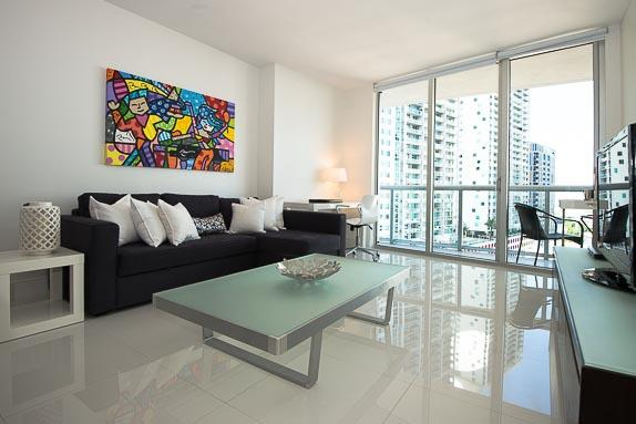 Living Area - Gorgeous Modern Condo in Prestigious ICON Brickell - Coconut Grove - rentals