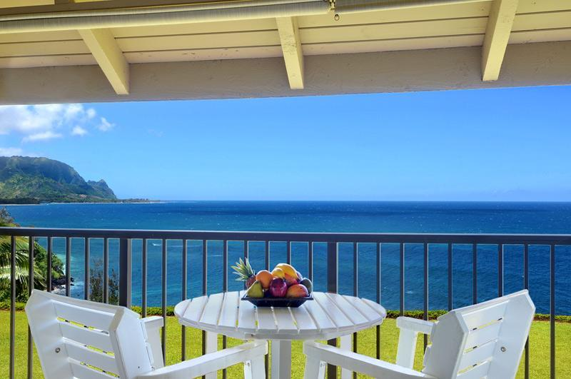 Morning coffee on our lanai - Cliff's Edge, Spectacular Bali Hai View - Princeville - rentals