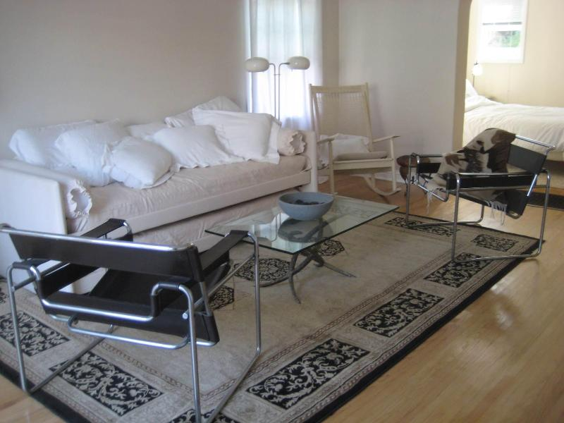 Living area has all European furnishings, e.g., Wasily chairs, Italian day-bed for extra guests. - Hollywood-Mid-Wilshire-Beverly Apt near Grove, CBS - Los Angeles - rentals