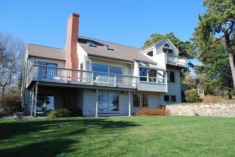 Rear of house facing ocean.  Note fabulous window views from each room. - Cape Cod Waterfront Expansive Ocean Views  of BB - Pocasset - rentals