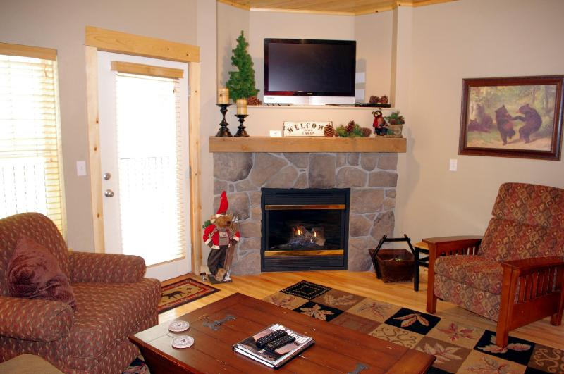 Living Room Fireplace - Listing #391805 - Creekside Chalet- 3 Bedroom Poolside, Summer Deals - Government Camp - rentals