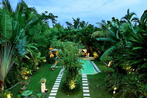View of the pool and garden from the upstairs bedroom - Villa Poppy - Seminyak 3 Beds, Large Pool & Garden - Seminyak - rentals