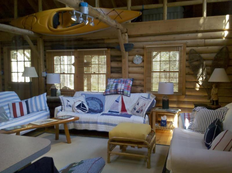 Livingroom View - Cedar Log Cabin in Boothbay Harbor, Maine - Boothbay Harbor - rentals