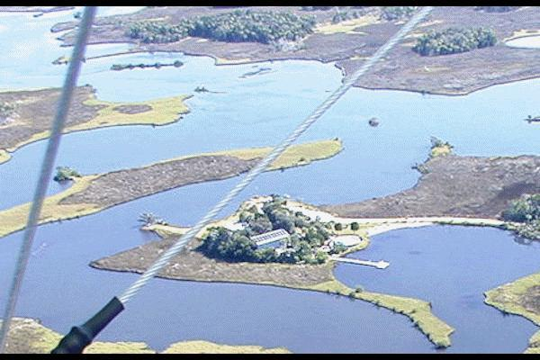 Aerial NW side shows 110' floating dock in private bay email to see over 130 shots and each of the 2 homes - Private Island complex~ land accessable-groups2-20 - Crystal River - rentals