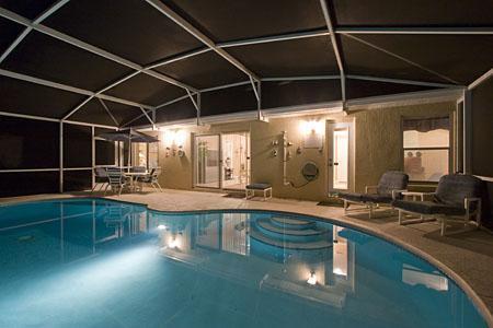 Night Time Pool Area - Awesome! - 4 Bed Westridge (Pool, FREE Wi-Fi, Gameroom) - Davenport - rentals