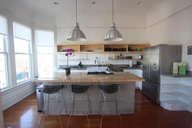 Chef's kitchen with high end fixtures. 5 burner stove, dishwasher, coffee maker, toaster, microwave - Remodeled High-end Penthouse, 2000 square feet - San Francisco - rentals