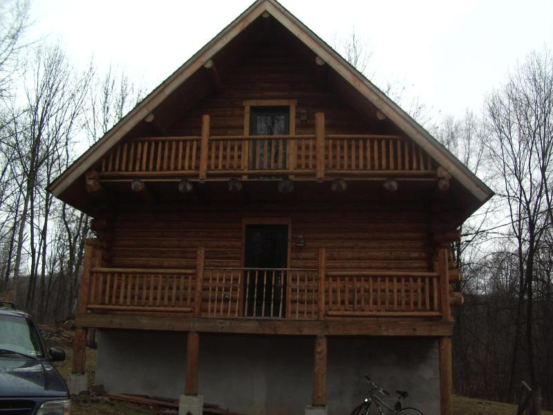 This is the back of the home when you drive up - Tiffanys Haven winter cost 375.00 with tax - White Haven - rentals