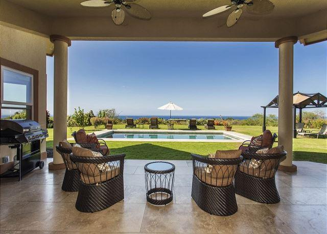Covered Lanai Overlooking Private Pool and Ocean Views - Magnificent Ocean Views, Pool, Walk to Beach, Surrounded by Fruit Orchards-PHHIAPL - Kailua-Kona - rentals