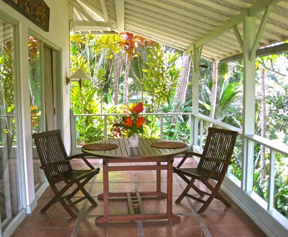 Downstairs Bedroom Verandah with jungle river gorge and rice paddy views - The Garden Cottage, Ubud, Bali Charming 2 bedroom - Ubud - rentals