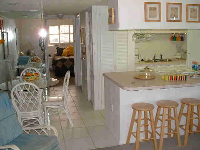 View from living room of Kitchen & Dinning area - condo on the beach in TreasuI island, Florida - Treasure Island - rentals
