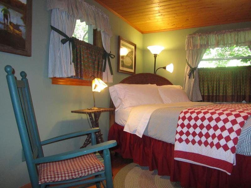 Master Bedroom with Queen Bed. Country french fabrics of sage green & brick red.. - 2 BR Guest House at Colonial Pines Inn B&B - Highlands - rentals
