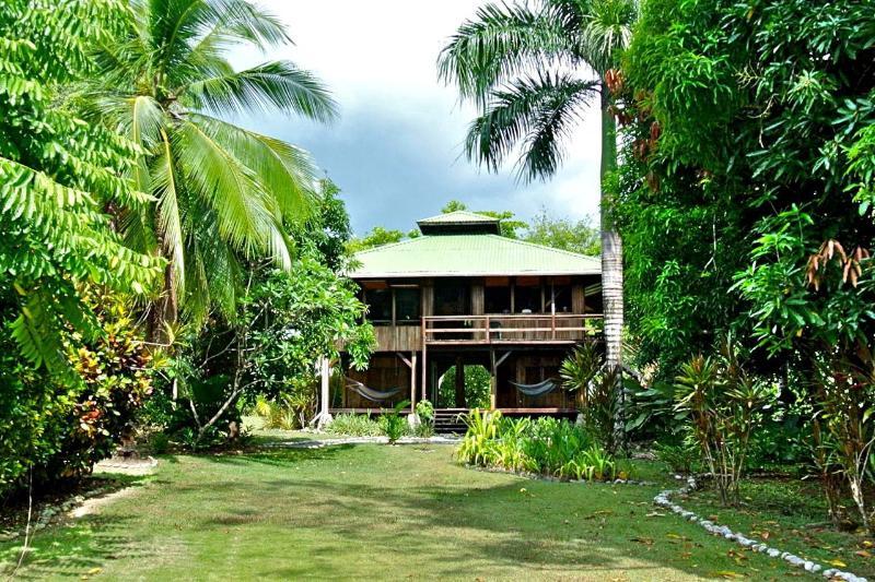 Casa Dos Rios from the beach - Casa Dos Rios, Beachfront, Rainforest Home, W/Surf - Cabo Matapalo - rentals