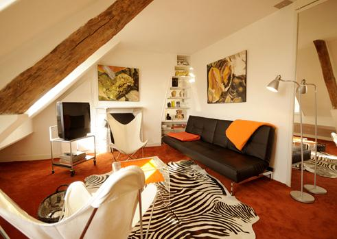 Living room with sofa bed. - La Boheme Vacation rental in Louvre - Paris - rentals