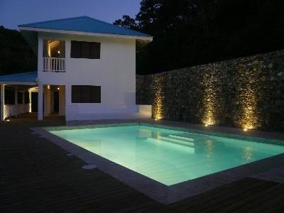 Poolside terrace (looking at VillaNoria Azul)  - New Hilltop Villa, Magnificent Sea Views! - Las Terrenas - rentals