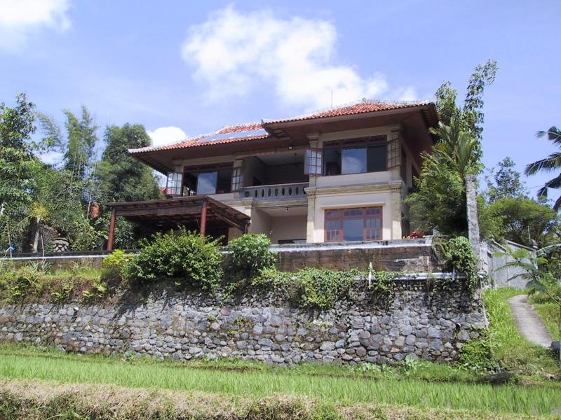 Villa from ricefields below - Luxury serviced villa in the ricefields near Ubud. - Ubud - rentals