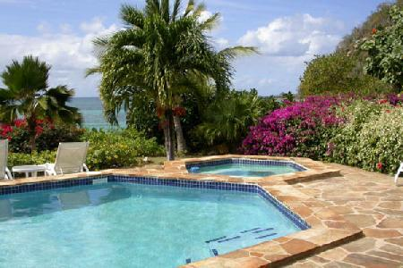 Waterfront Beach Dreams- pool- jetted tub, tropical gardens & snorkeling - Image 1 - Mahoe Bay - rentals