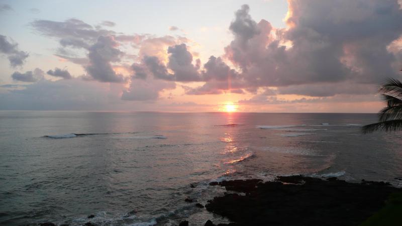 Sunset view from the lanai, facing South West - Kuhio Shores 412 Oceanfront Condo, Poipu, Kauai - Poipu - rentals