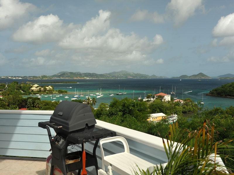 Deck View at Harbor View in Cruz Bay - Harbor View - Big Views & Sunsets In Cruz Bay - Cruz Bay - rentals