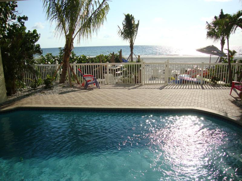 """Sparkling beachfront pool - shared by all 5 bungalows - BEACHSIDE BUNGALOW 1BR """"Lobster Shack"""" Heated Pool - Indian Shores - rentals"""