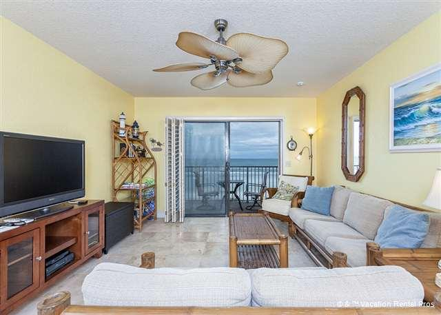 "The sunny living room with HDTV and patio access - Summerhouse 408, Ocean Front, New 42"" HDTV, 4 Heated Pools - Saint Augustine - rentals"