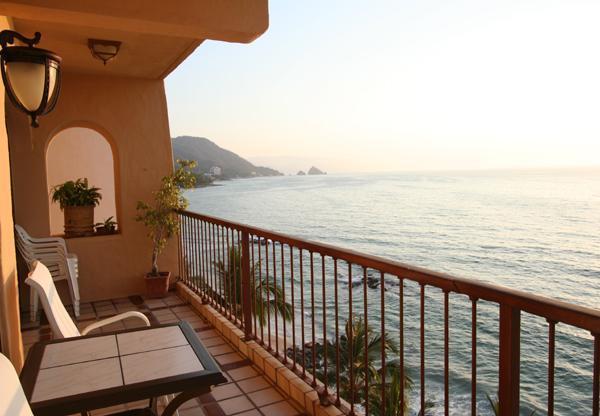 Casa Los Arcos Main Balcony View Facing South - Beautiful Beachfront 2 Br Corner Unit: Punta Negra - Puerto Vallarta - rentals