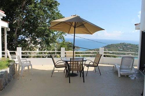 Private courtyard offers ocean views, BBQ grill, and seating/lounging areas - Sunset Ridge Villa F - Saint John - rentals