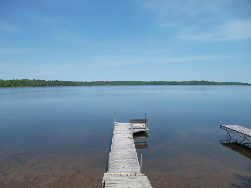 The dock - Great 2 Bed right on Big Portage Lake- Sandy Beach - Backus - rentals
