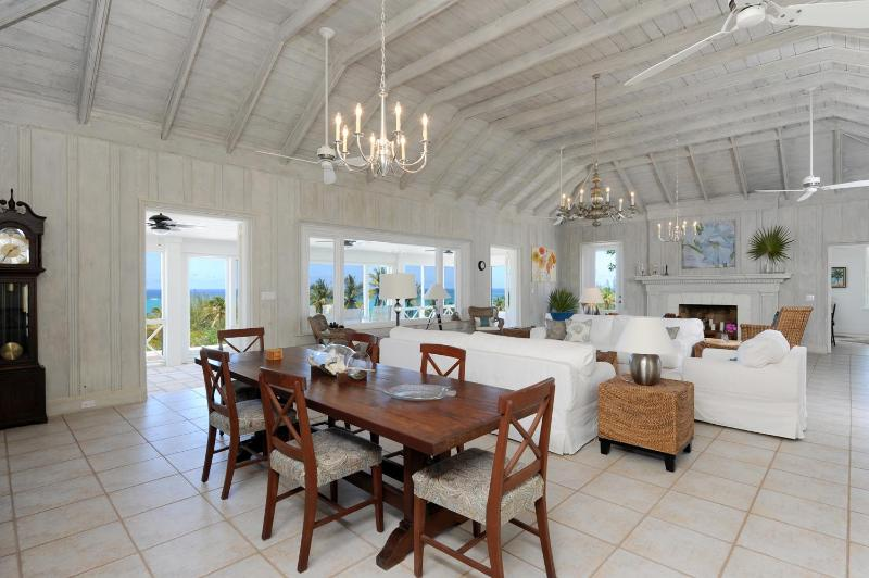Stunning great room with high ceilings and ocean views - Restored Historic Beach Villa w/Pool, Great Views - Governor's Harbour - rentals