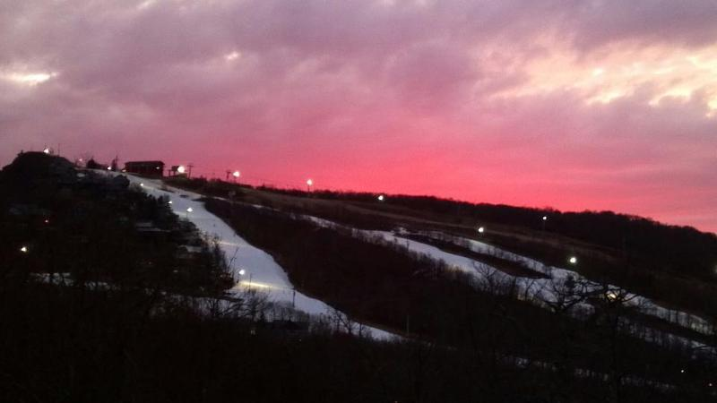Sunset View of Ski Slopes from Condo - Beautiful Condo Overlooking Beech Mountain Slopes - Beech Mountain - rentals
