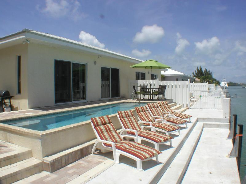 LG. Heated Pool out back with view of waterway - Casa Mar Azul - III- Luxury Home- WiFi -Prv  Pool - Key Colony Beach - rentals